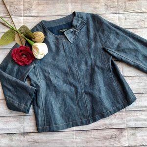 Talbots Button Front Denim Jacket 3/4 Sleeve